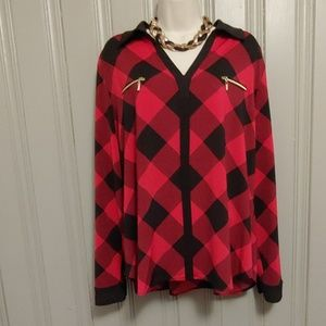 XL 18 -20 Plaid Red and Black 👕 NEVER WORN